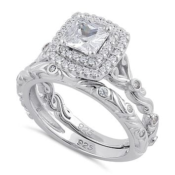 Romantic Style 1CT Princess Cut Russian Lab Diamond Double Halo Bridal Set