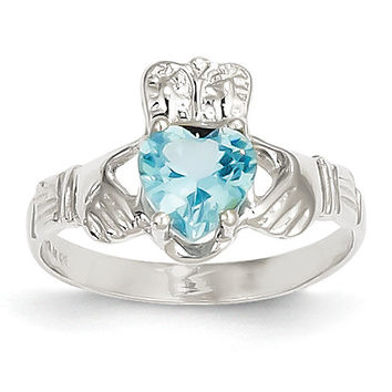 14k White Gold December Birthstone Claddagh Ring