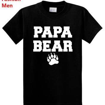 Papa Bear Letters Print Men T shirt Fashion Casual Funny Shirt For Man Black White Gray Top Tee Hipster ZT-125