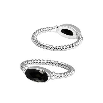 SR-5362-OX-8'' Sterling Silver Ring With Black Onyx