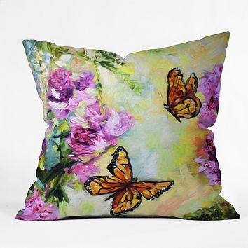 Ginette Fine Art Butterflies and Peonies Throw Pillow