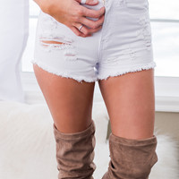 Crossfire High Waisted Distressed Denim Shorts (White)
