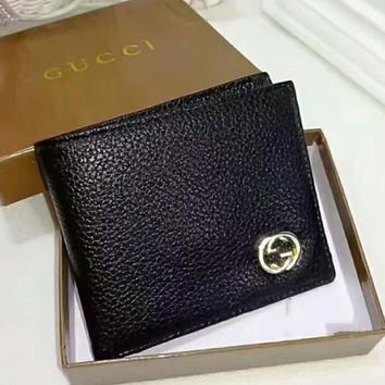 Gucci Men Wallets Fashion Trending Leather Male Purse Small Wallets Money Bag Black G-LLBPFSH
