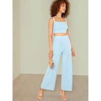 Blue Thick Strap Sleeveless Co-Ordinates
