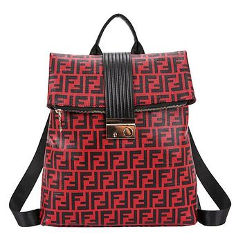 FENDI Trending Women Stylish Leather Backpack Daypack Rucksack Bookbag Red