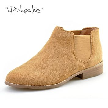 Pink Palms new summer/autumn shoes round toe thick heel ankle boots square heel flat genuine leather boots