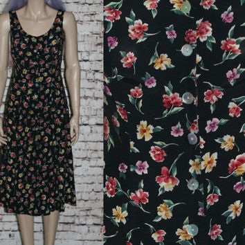 90s Midi Dress S Floral Rayon black Tank Maxi Grunge Hipster Boho Festival Pastel Goth Tie Back Button Up