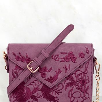 Embroidered Shoulder Purse Purple