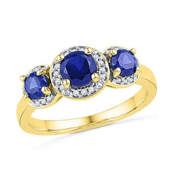 10kt Yellow Gold Womens Round Lab-Created Blue Sapphire 3-stone Diamond Ring 1-3/8 Cttw 101275