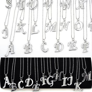 New Silver Crystal Rhinestone A-Z Letter Charm Initial Alphabet Pendant Necklace