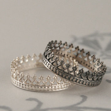 King Me Ring--King for a Day--Sterling Silver Crown Band--Custom made in YOUR size