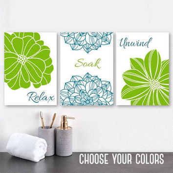 Teal Green BATHROOM Wall Art, Bathroom CANVAS or Prints, Teal Bathroom Decor, Flower Bathroom Pictures, Relax Soak Unwind, Set of 3 Pictures
