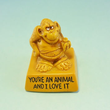 Vintage Gorilla W Berrie Ape Collectible Figurine You're an Animal 1974 Kitsch Monkey Banana Chimp Statue Funny Love Quote Gift Boyfriend