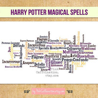 11x17 Magical Harry Potter Spells Print - Pick Your Color Scheme