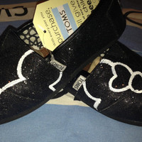 Mickey & Minnie Mouse Disney Silhouette Custom TOMS Shoes on Black Glitter