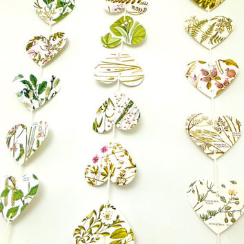Wedding backdrop, Photo backdrop, Heart garland, Natural Wedding decor, Heart Bunting, Botanical Banner, Wedding Bunting, Valentines decor