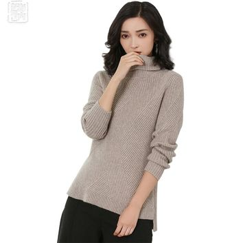Women's Turtleneck Cross Ribbing Knitting 100 Cashmere Pullover Allover Famale Jumper Autumn 2017 Winter Cashmere Sweater r1750