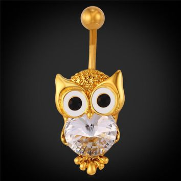 Hot Rhinestone Owl Belly Button Ring Women Gift Body Jewelry Gold Plated Bird of Minerva Belly Piercing Nombril-03328