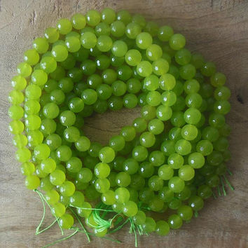 Faceted agate beads - lime green beads - full strand bead - natural gemstone beads - 14 mm round