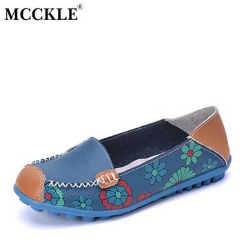 MCCKLE  Spring Women Casual Shoes Female Genuine Leather Printing Loafers Shoes Woman Fashion Slip On Shallow Flats Shoes