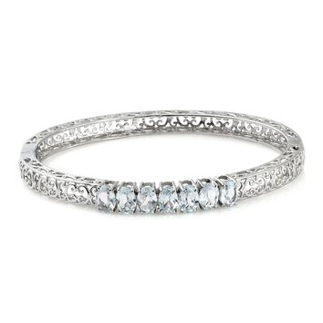 Topaz Stainless Steel Openwork 7 Stone Bangle (7.25 in)
