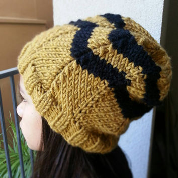 Hand Knit FULLY CUSTOMIZABLE Slouchy CHEVRON Beanie Hat Choose Base and Accent Color Fits Adult and Children 10+