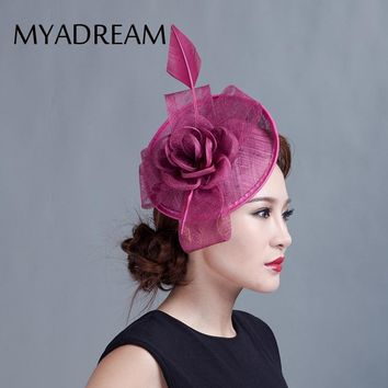 MYADREAM Large Feather Rose Flower Fedora Elegant Handmade Sinamay Fascinator Chapeau Femme Hats for Women Wedding Top Hat Toca