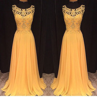 Elegant Slim Hollow Out Lace Pleated Long Dress