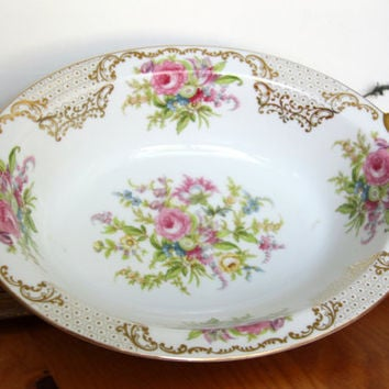 Noritake Kyngold China Serving Bowl - Vegetable Plate - Gold Rim Pink Flowers - Japan 317  NYN Gold Vintage