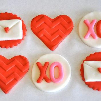 Valentine's Day Fondant Cupcake Cake Or Cookie Toppers  Edible  1 Dozen