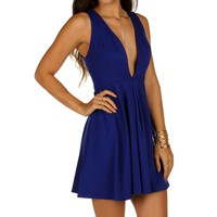 Sale-royal Pleat And Flare Skater Dress