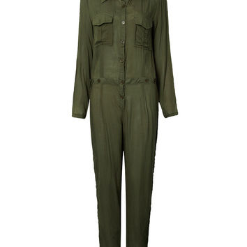Casual Women Button Pockets Long Army Green Lape Romper Jumpsuit