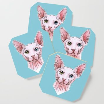 Sphynx cat portrait Coaster by savousepate