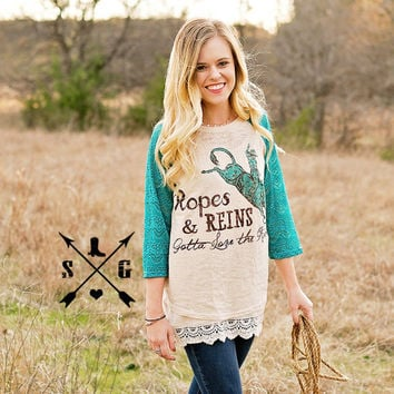 Ropes and Reins Gotta Love the Rodeo with Turquoise Sleeves