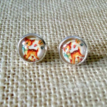 Baby Deer Earrings, Cute Fawn Stud Earrings, Vintage Animal Illustration