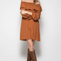 Off the Shoulder Ruffle Tunic Dress - CARMEL