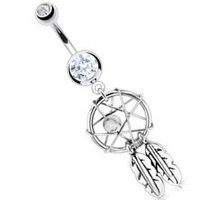 "Body Accentz® Belly Button 316L Surgical Steel Dream Catcher Woven Star Design with Bead and Feathers Fancy Navel Ring Dangle Body Jewelry 14g 3/8"" HO715"