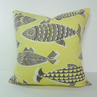 Tommy Bahama Coral Reef Decorative Pillow Cover, Fishful Thinking, Butter Yellow, Stone Grey Pillow Cushion Cover, 18 x 18, 16 x 16