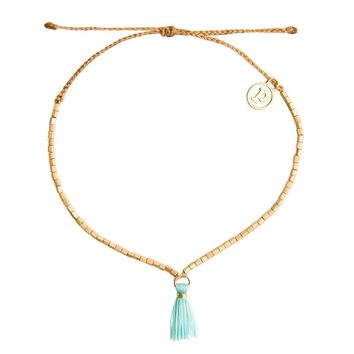 Gold Fringe with Seafoam Tassel