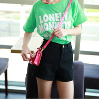 High Waisted Cuff Short Pants