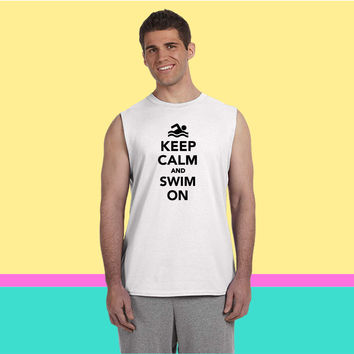 Keep calm and swim on Sleeveless T-shirt