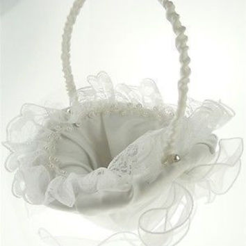 Satin Flower Girl Baskets Wedding Ceremony, 8-inch, Ruffled Lace w/ Pearl (Oval), White, CLOSEOUT