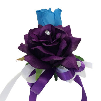 Pin Corsage - Purple and Deep Blue Turquoise Artificial Flowers Shoulder Corsage