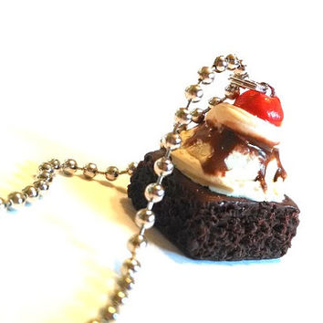 Hot Fudge Brownie Sundae Pendant, Polymer Clay Food Jewelry