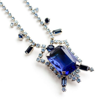 Vintage Blue Rhinestone Necklace -  1950s Silver Tone Costume Jewelry / Sapphire & Baby Blues