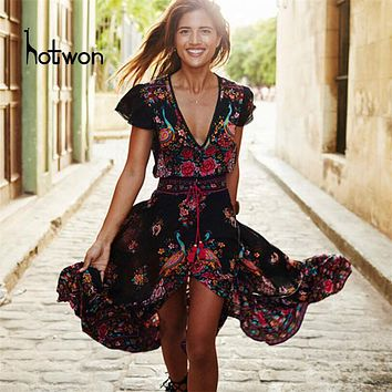 Hotwon 2017 Beach dress sexy dresses boho bohemian people Holiday summer long maix cotton women party hippie chic vestidos mujer