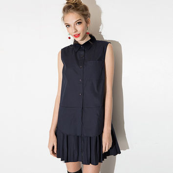 New Preppy Style Layered Pleated Shirt Dress