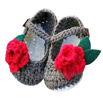 Handmade Crocheted Mary Jane Red Flower Baby Shoes