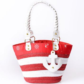 Voodoo Vixen Red & Ivory Anchors Away Beach Tote
