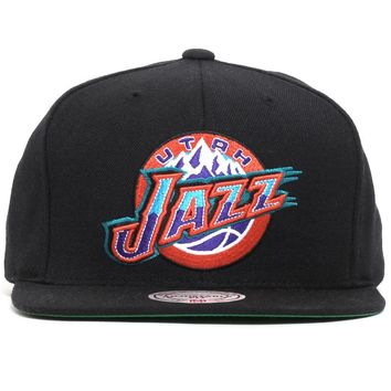 Utah Jazz Wool Solid Snapback Hat Black
